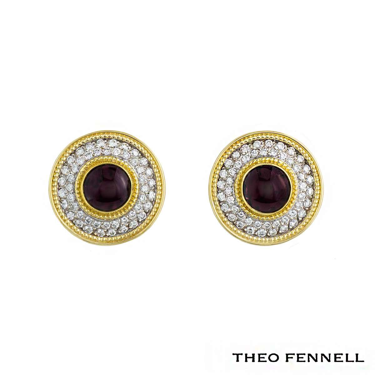 Theo Fennell 18k Yellow Gold Diamond & Pink Tourmaline Earrings 2.16ct